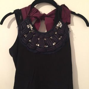 Embellished Tank with Ribbon Bow